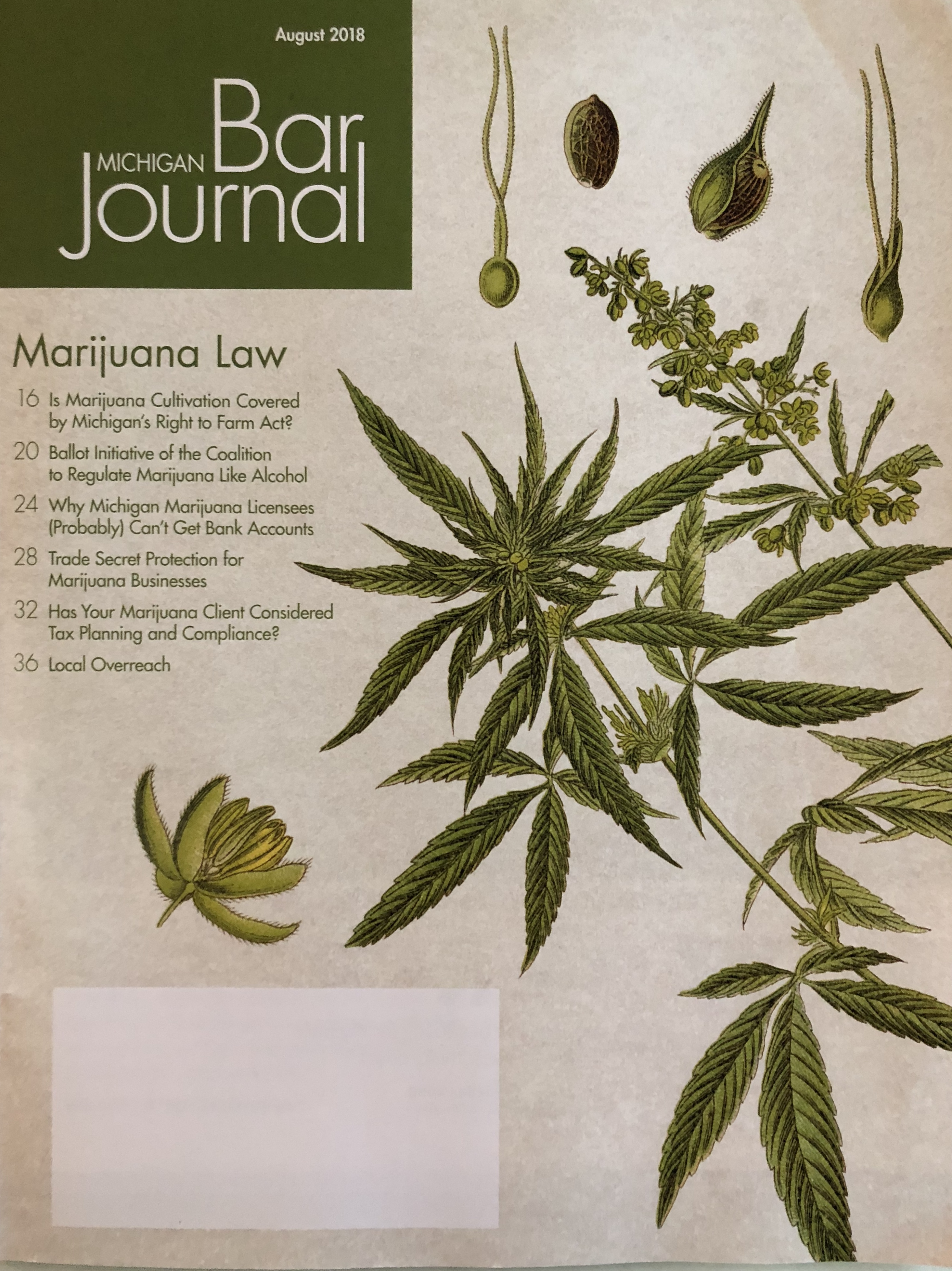 cover of the State Bar of Michigan's Journal about cannabis and Michigan's right to farm act