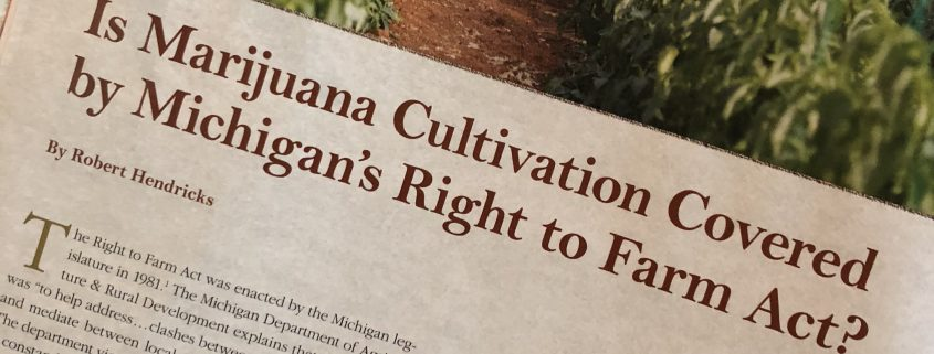 photo of a magazine page about Michigan's right to farm act and marijuana